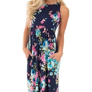 Long Maxi Dress - Floral Print - Sleeveless - Lg